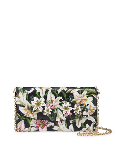 Floral-Print Crossbody Wallet on Chain