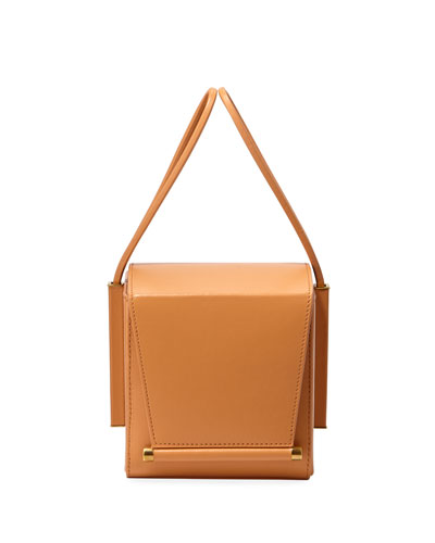 Smooth Leather Box Bag, Light Brown