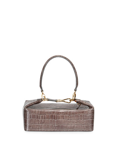 Olivia Croc-Stamped Top-Handle Bag