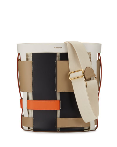 Foster Colorblock Leather Cage Bucket Bag