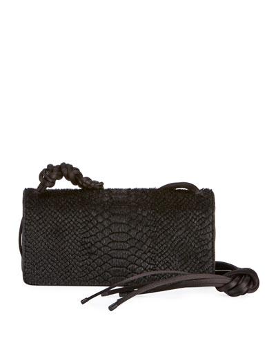 Snake-Embossed Shoulder Bag