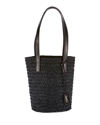 Small YSL Woven Raffia Tote Bag