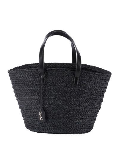 Medium YSL Woven Raffia Tote Bag
