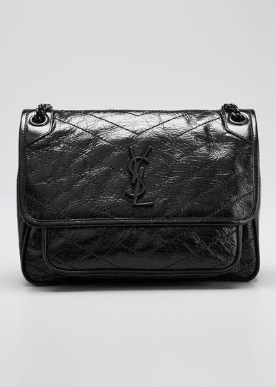 Niki Medium YSL Monogram Crackled Calf Shoulder Bag