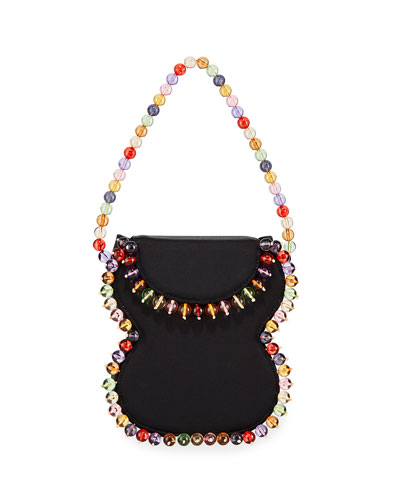 Frida Beaded Grosgrain Top-Handle Bag