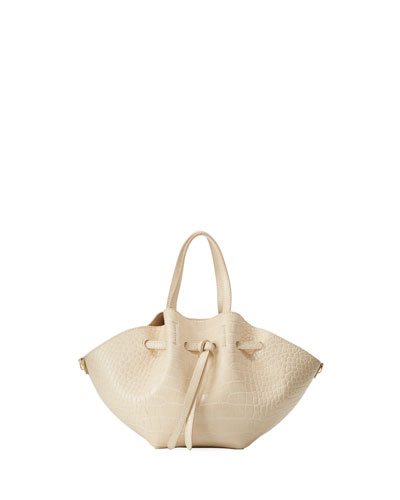 Lynne Crocodile-Embossed Tote Bag, Cream