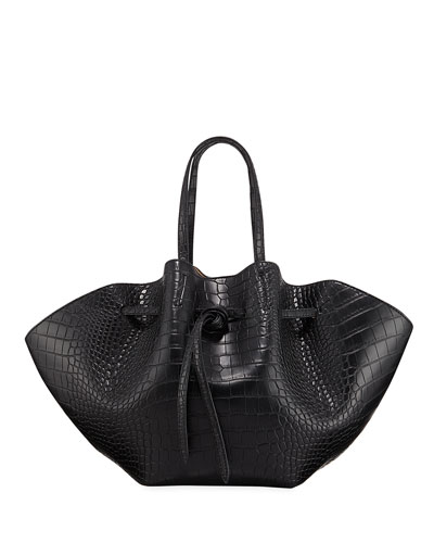 Lynne Embossed Crocodile Tote Bag
