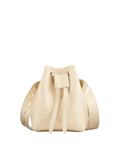 Minee Crocodile-Embossed Belt Bag, Cream