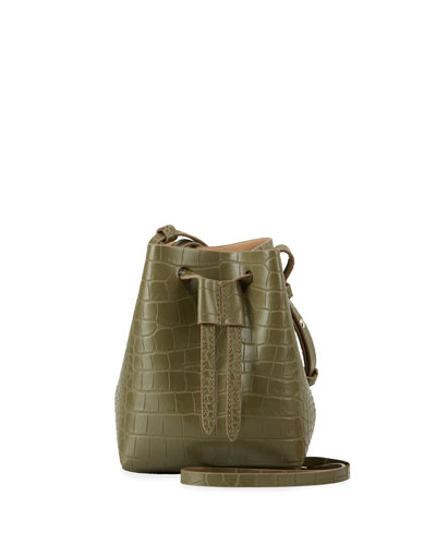 Minee Crocodile-Embossed Belt Bag, Olive