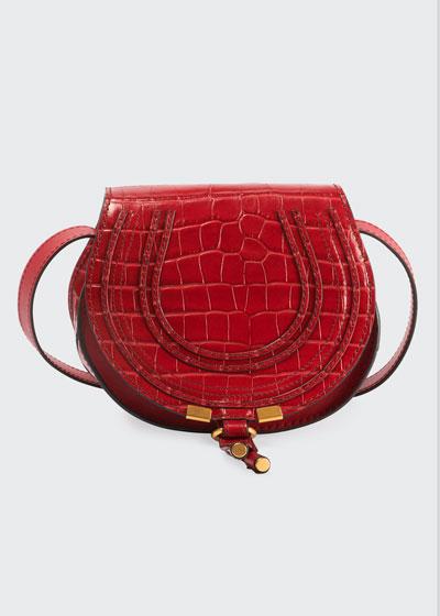 Marcie Small Croco Saddle Crossbody Bag