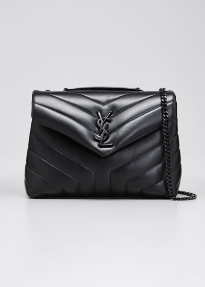 Loulou Small Matelasse Calfskin Flap-Top Shoulder Bag, Matte Black Hardware