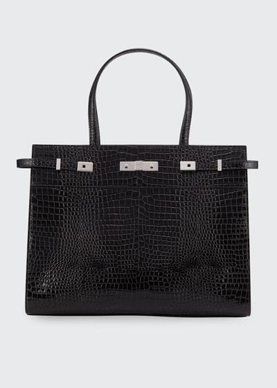 Manhattan Medium Belted Croco Tote Bag