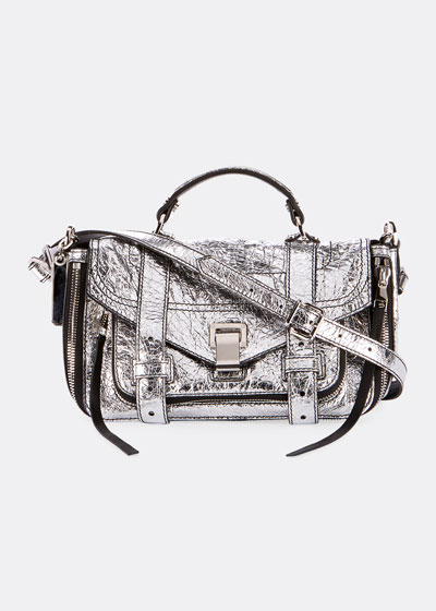 PS1+ Tiny Metallic Leather Satchel Bag