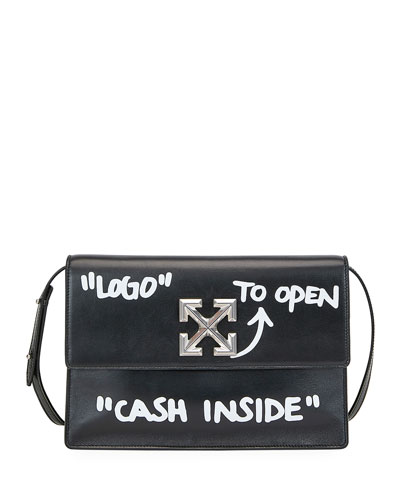 Jitney Cash Inside Top Handle Bag, Black/White
