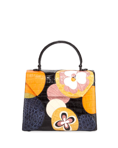 Lily Crocodile Patchwork Medium Top-Handle Bag