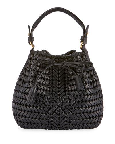The Neeson Mini Drawstring Bucket Bag, Black