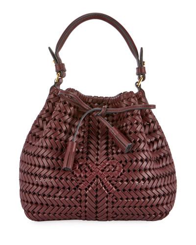 The Neeson Mini Drawstring Bucket Bag, Burgundy