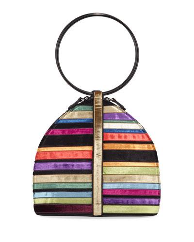 Cardinal Velvet Ring-Handle Clutch Bag