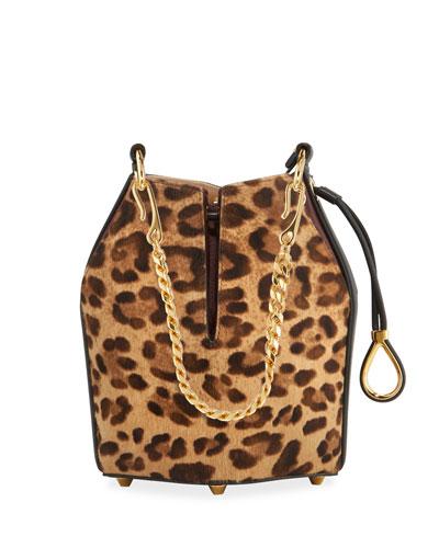 Small Leopard Hair Bucket Bag