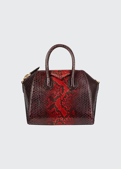 Antigona Mini Shiny Python Satchel Bag