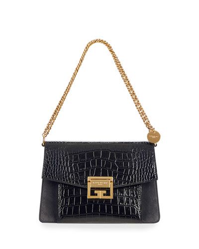 GV3 Small Croc-Embossed Leather Shoulder Bag