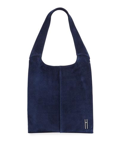 Medium Grand Suede Shopper Tote Bag, Navy