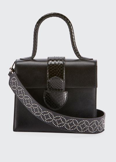 Leonie Small Snakeskin Top Handle Bag