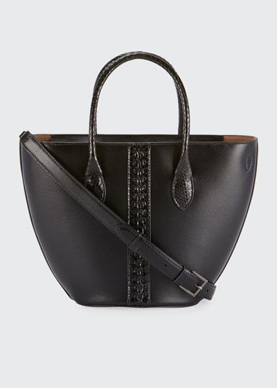 Latifa Mini Cuir Lux Tote Bag, Noir
