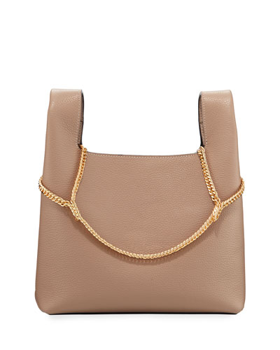 Pebbled Leather Chain Bag, Beige