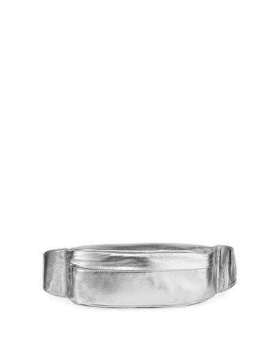 Foiled Leather Belt Bag, Silver