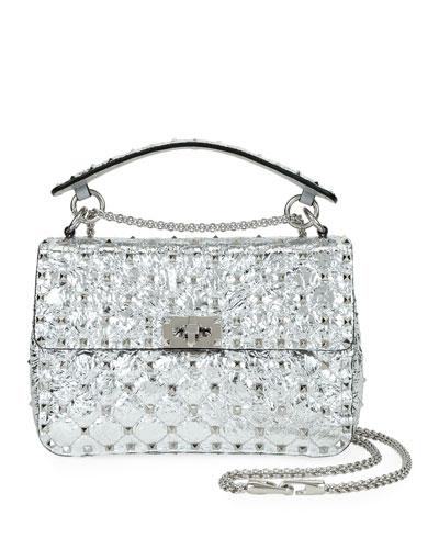 Spike It Rockstud Medium Shoulder Bag, Silver
