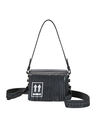 Fringed Leather Flap Shoulder Bag