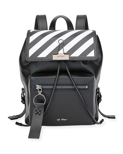 Diagonal Leather Binder Backpack