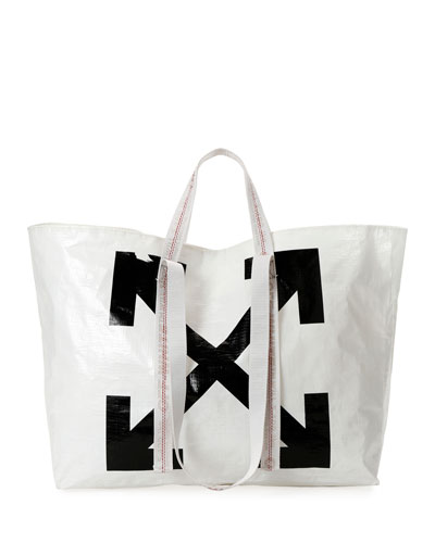 New Commercial Tote Bag, White/Black