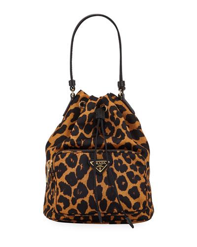 Leopard-Print Drawstring Bucket Bag