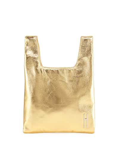 Mini Foiled Shopper Tote/Clutch Bag