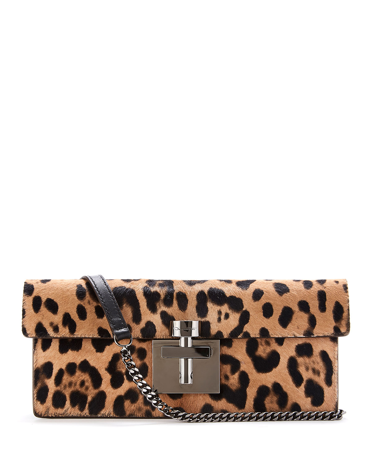 Oscar De La Renta Shoulder SLIM ALIBI LEOPARD SHOULDER BAG