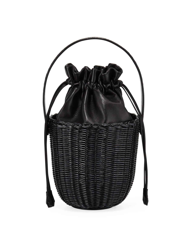Nancy Gonzalez Wicker & Leather Drawstring Bucket Bag In Black