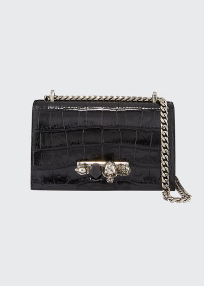 Shiny Croc-Embossed Jeweled Shoulder Bag, Black