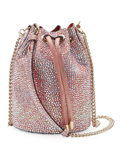 Marie Jane Crystal-Studded Suede Bucket Bag