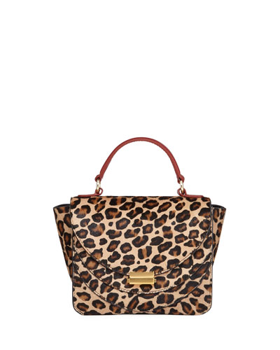 Luna Mini Leopard-Print Calf Hair Top-Handle Bag