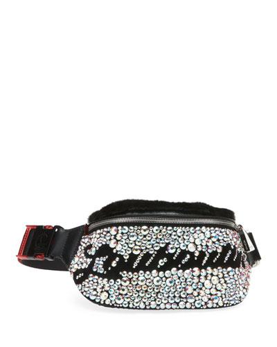 Marie Jane Maxi Crystal-Studded Suede & Faux-Fur Belt Bag