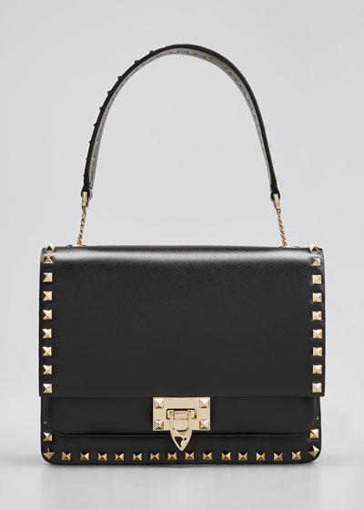 Rockstud Smooth Leather Shoulder Bag