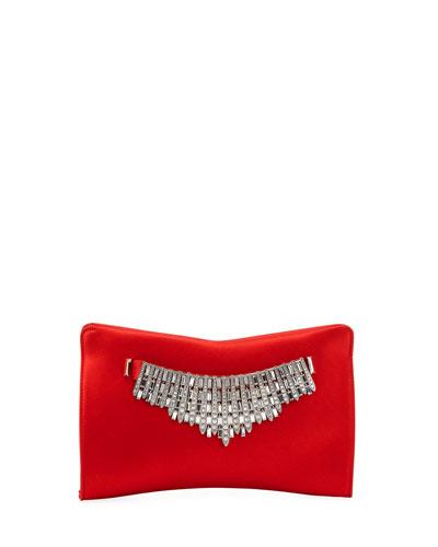 Tiara Satin Crystals Clutch Bag, Red