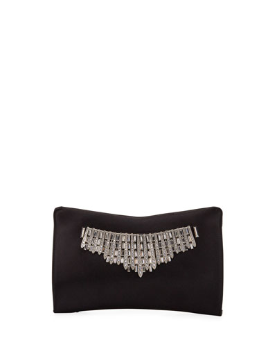 Tiara Satin Crystals Clutch Bag, Black