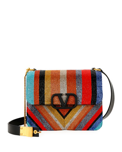 VSling Striped Beaded Shoulder Bag