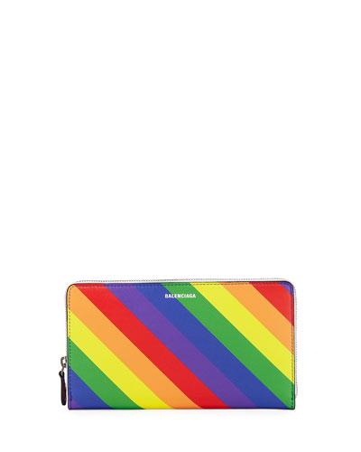 Ville Rainbow Stripe Leather Continental Wallet