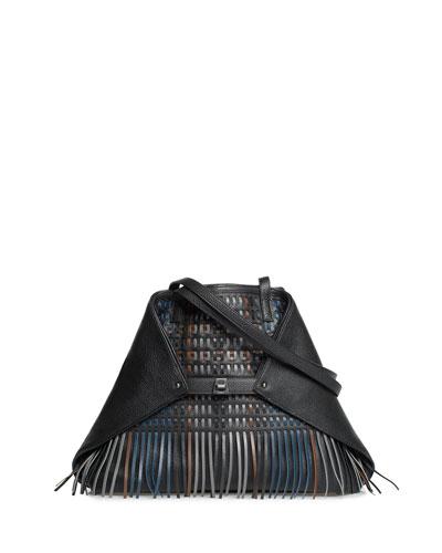 AI Medium Soft Shoulder Bag with Laser-Cut Fringe