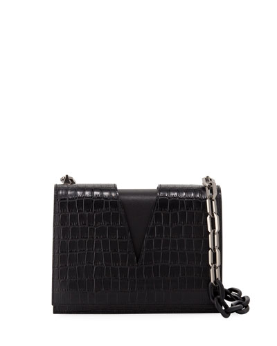 Stamped Croc V-Chain Shoulder Bag