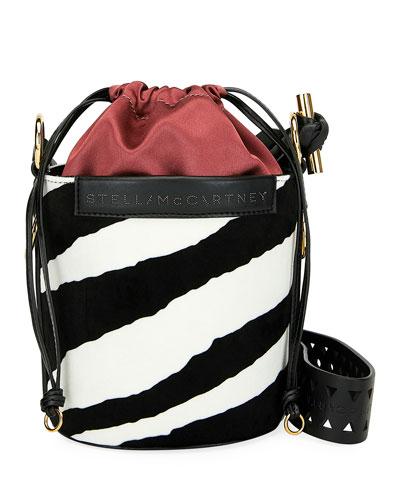 Small Zebra-Print Velvet Bucket Bag